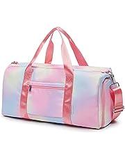 FITMYFAVO Bolsa de viaje para niñas, bolsa de viaje para fin de semana con compartimento para zapatos, bolsillo húmedo, Rosa/Rebel Fun., xl,