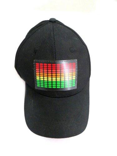 DJ LED Flashing Sound Activated Equalizer E-Q Rave Light Up Disco Hat Cap (One Size) ()