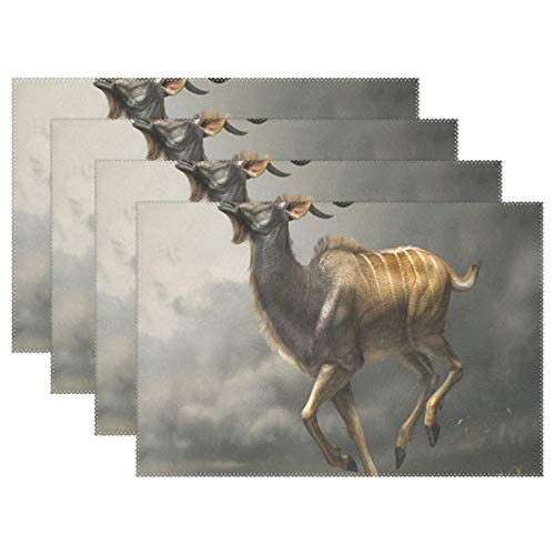 (NMCEO Place Mats Wild Animal Jackalope Personalized Table Mats for Kitchen Dinner Table Washable PVC Non-Slip Insulation Set of 6)