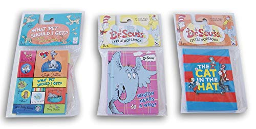 Dr. Seuss Themed Mini Notebook Set - Cat in The Hat, Horton Hears a Who, and What Pet Should I Get?