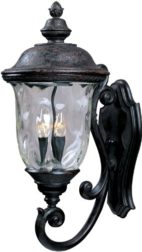 Maxim 3424WGOB Carriage House DC 3-Light Outdoor Wall Lantern, Oriental Bronze Finish, Water Glass Glass, CA Incandescent Incandescent Bulb , 60W Max., Damp Safety Rating, Standard Dimmable, Frosted Glass Shade Material, Rated Lumens (Light Carriage Pendant)
