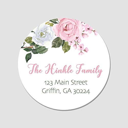 40 Personalized Rose Return Address Labels - Customized Floral Envelope Seals (AL52) (Return Address Seal)