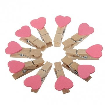 High Quality 10Pcs Love Heart Wooden Clothes Photo Paper Clips - Red/Pink/White - Pink Cesis