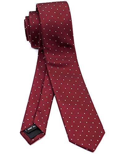 WANDM Men's Slim Skinny Tie Business Necktie Width 2 inches Washable Pin Dot Burgundy Wine - Pin Wine Dot