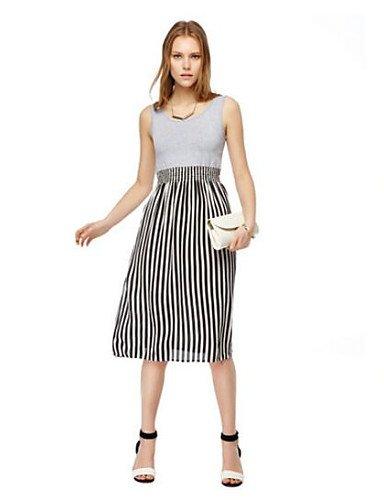 PU&PU Robe Aux femmes Ample Vintage,Rayé Col Arrondi Au dessus du genou Polyester , gray-l , gray-l