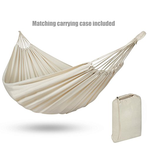 Portable Durable Cotton Brazilian Style Hammock Double 2 Person Camping Bed With Matching Carrying Bag - White #1126
