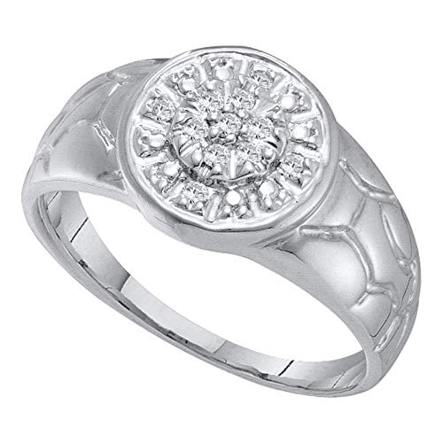The Diamond Deal 14kt White Gold Mens Round Diamond Cluster Nugget Ring 1/8 Cttw