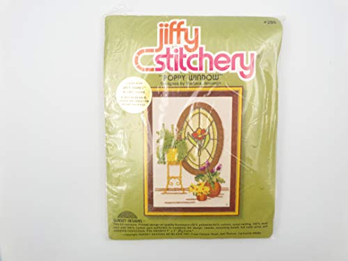 Jiffy Stitchery Cross Stitch Embroidery Kit 295 Poppy Window 5x7 1979 Sunset Designs