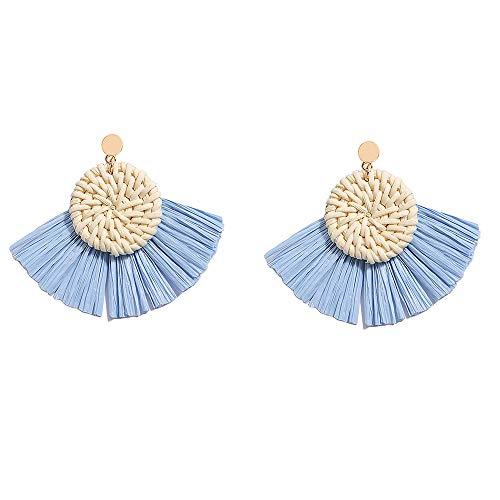 Tassel Rattan Hoop Earrings for Women - Bohemian Wicker Earrings Oval - Handmade Braided Drop Dangle Earrings, Gift for Sister, Wife, Mother or Daily Wear