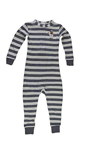 Kids Zipper Back - Little Keeper Sleeper Boys' Long Sleeve Zippered Back Inescapable Pajamas (2T, Heather Gray/Cream)