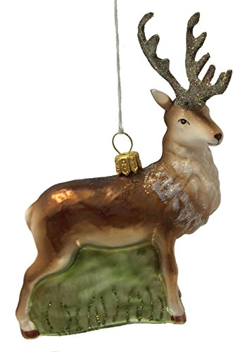 Pinnacle Peak Trading Company Male Buck Deer with Antlers Polish Glass Christmas Tree Ornament Wildlife ()