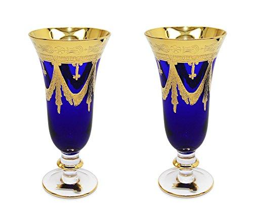 Interglass - Italy, Cobalt Blue Crystal Champagne Flutes, Vintage Design, 24K Gold Hand Decorated, 9 oz, Set of 2