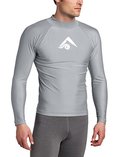 Kanu Surf Men's Long Sleeve Platinum UPF 50+ Rashguard, Grey, Large