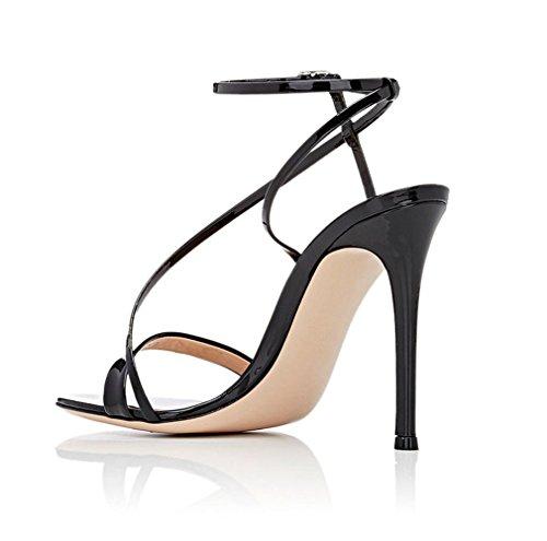 Sexy a Lucky Dames Talons eu45 Orteils À Femmes Aiguille Chaussures Pu Sandales Talon e46 Hauts black Cour Noir Filles Or Couleur E34 Ouverts Clover rY0q5r