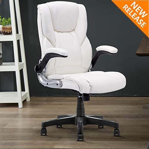 B2C2B High Back Ergonomic Home Office Chair - Leather Computer Executive Desk Chair Modern Racing Chair Adjustable with Flip-up Arms Lumbar Support 280lbs White