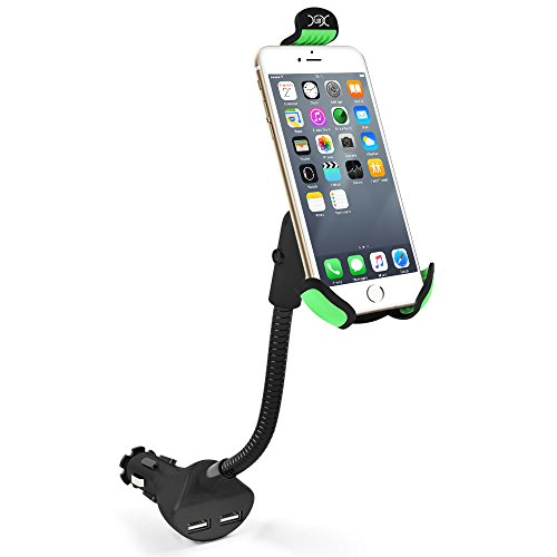 Car Mount Charger YXwin Universal Car Phone Mount Charger Holder with Dual USB 2.1A Car Charger for 3.5-6.3 Inch iPhone, Samsung, Huawei, Sony and More (6 Mount Cigarette Car Iphone)