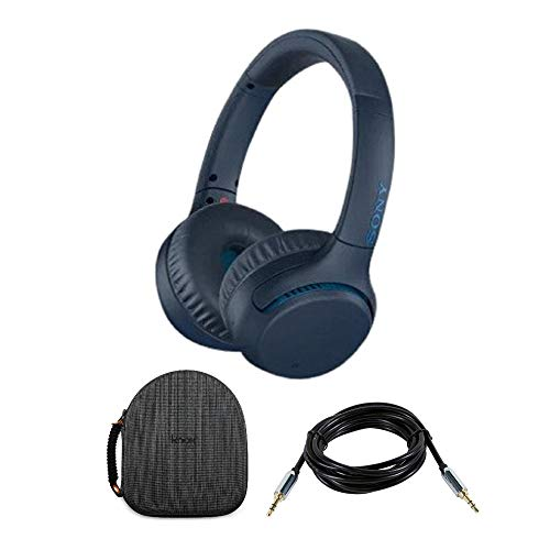 Sony WHXB700 Wireless Extra Bass Headphones (Blue) with Headphone case and 10ft 3.5mm Cable Bundle (Sony Bluetooth Nfc Over Ear Stereo Headphones)