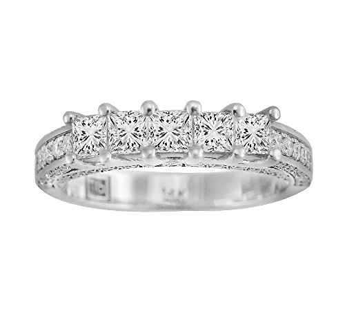 Cut 5 Stone Diamond Band - Samaya Jewels 1.14ct Princess Cut H/SI Diamond 14k Gold 5 Stone Accent Wedding Band Ring