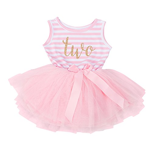 Grace & Lucille Pink Striped Sleeveless Baby Birthday Dress (Gold, 2nd Birthday (2T))
