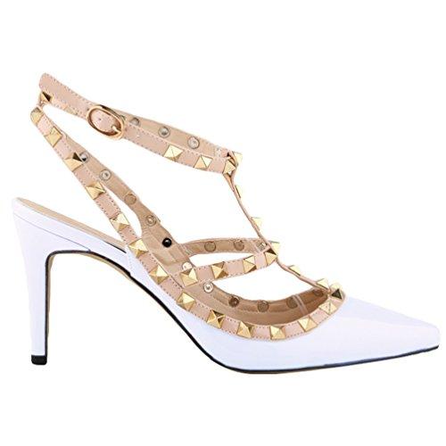 WanYang Femme Talons Décoration Fermé Bout Chaussure Blanc Hauts Aiguilles A Rivet Talons F6xFOR