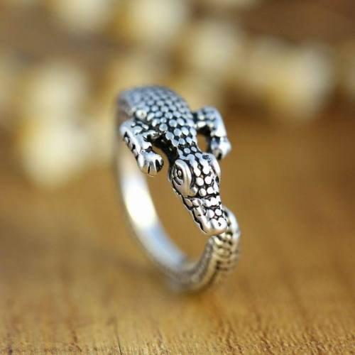 Ransopakul Fashion Men Women Crocodile Animal Ring Adjustable Silver Alligator Finger Wrap
