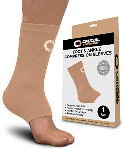 Ankle Brace Compression Sleeve for Men & Women (1 Pair) - BEST Ankle Support Foot Braces for Pain Relief, Injury Recovery, Swelling, Sprain, Achilles Tendon Support, Heel Spur, Plantar Fasciitis Socks ()