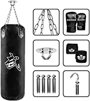 Punching Bag Heavy Filled Set for Adults with Gloves, Wall Bracket Ceiling Hook Punch Gloves Chain, Boxing MMA