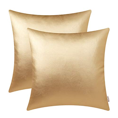- BRAWARM Cozy Throw Pillow Covers Cases for Couch Sofa Bed Solid Faux Leather Soft Cushion Covers Durable Pillowcase Home Decoration Accent Both Sides 18 X 18 Inches Gold Pack of 2