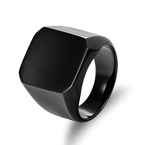 For Women girl lady couple DENERNew Solid Polished Stainless Steel Band Biker Men Signet Ring Wedding Elegant Ring Jewelry Accessories for Engagement (Black, - Signet Define