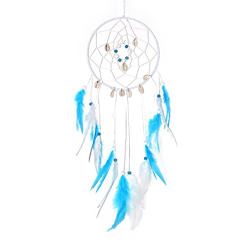 "Parlie Handmade Large Dream Catcher with Turquoise Blue Feathers Beads Seashells, Wall Hanging Home Decoration Hanging Ornament Gift Caught Dreams Unique Style (Diameter: 6"") by Parlie"