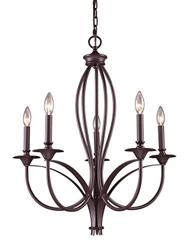 Elk 61032-5 Medford 5-Light Chandelier, 27-1/2 - Inch, Oiled Bronze