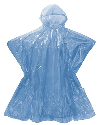 Emergency Rain Poncho with Hood - 5 Blue Poncho One Size Fits All - Commuter Friendly Rain Poncho Survival Kit Accessory for Travel Trailblazing Picnics Camping School Sporting Corporate - Is Cycling Season When