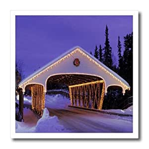 ht_80805_1 Florene Christmas - Christmas Lit Covered Bridge - Iron on Heat Transfers - 8x8 Iron on Heat Transfer for White Material