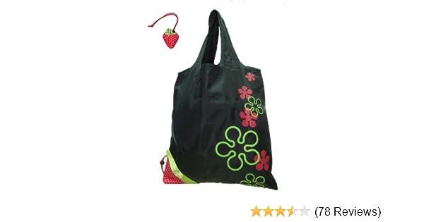Amazon.com  Reusable Shopping Tote Bag - Folded into a Strawberry - Black  Reusable  Grocery Bags  Kitchen   Dining 976e49dd980e8