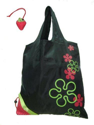 2009 Collection Handbag - Reusable Shopping Tote Bag - Folded into a Strawberry - Black
