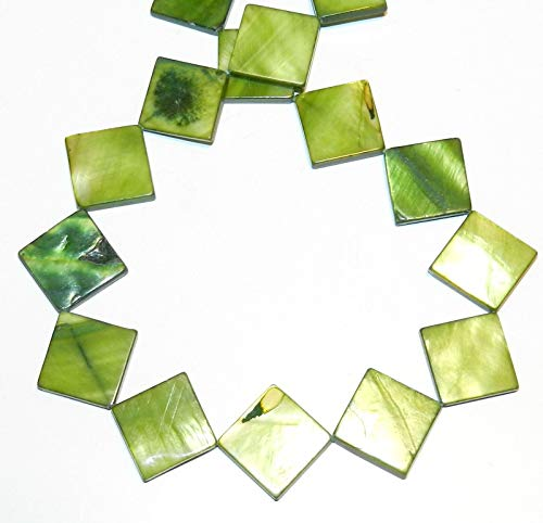 (Green 20mm Flat Square Diamond Mother of Pearl Shell Beads)