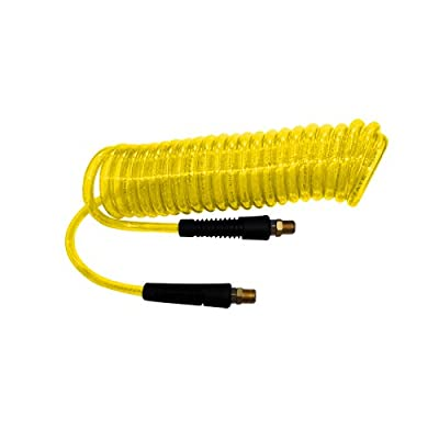 Interstate Pneumatics HR54-020 Yellow Polyurethane Recoil Hose 1/4 Inch x 20 Feet Swivel Fittings