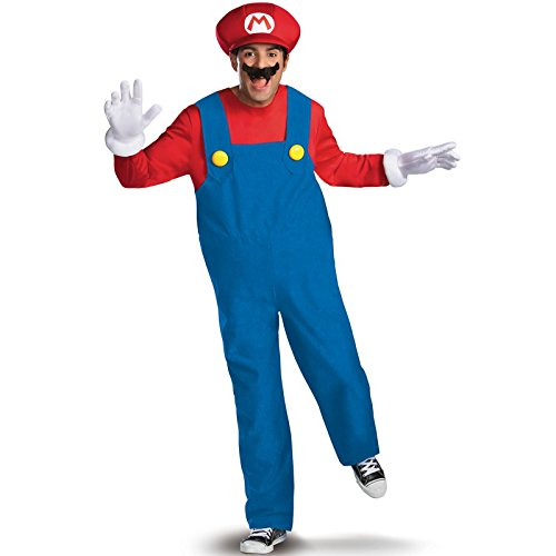 Disguise Costumes Mario Deluxe Costume, Adult, Medium (38-40 (Teen Mario Costumes)