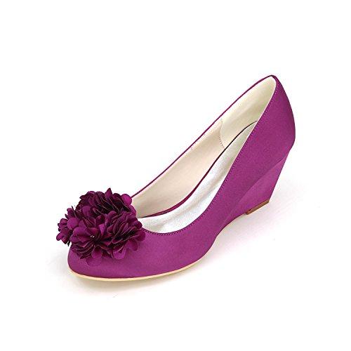 L@YC Tacones altos De Las Mujeres OtoñO De Primavera CóModo Zapatos SintéTicos De La Boda Y Vestido De Noche Tacones Finos De La Cuesta Purple