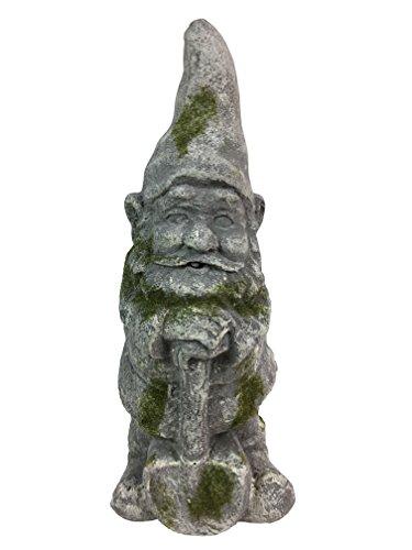 Cement Garden Statue (Antique looking Concrete Garden Gnome with Shovel)