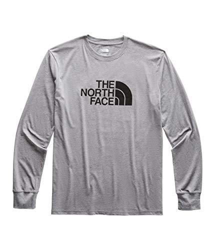 The North Face Men's Long Sleeve Half Dome Tee, TNF Medium Grey Heather/TNF Black, Size S