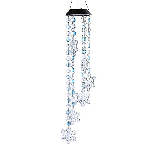 ZONYEO Multi Color Solar Powered Summer Refreshing Bead Snowflake Wind Chime Mobile LED Light, Spiral Spinner Waterproof Portable Outdoor Chime for Patio, Deck, Yard, Garden, Home,Pathway