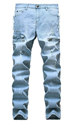 ripped straight fit stretch jeans