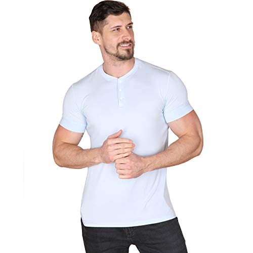 Men Casual T Shirt V Neck Short Sleeve Henley Shirts Cotton Underwear Button Loose Slim Fit Sport Workout Outdoor Wear Gym Beach Party Hiking Travel Business Working Autumn High Elasticity Ice Blue