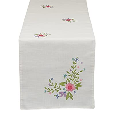 "DII Embroidered Spring Flowers Table Runner - Decorate your home for spring with our beautiful table runner Sweet floral motif delicately embroidered The 14 x 70"" size is long enough for most surfaces - table-runners, kitchen-dining-room-table-linens, kitchen-dining-room - 41R6MeF VDL. SS400  -"