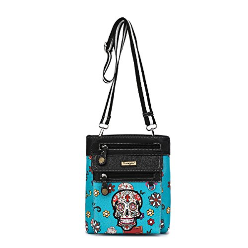 Day of The Dead Sugar Skull Print Crossbody Bag with Front Detachable Zipped Pouch by Cowgirl Trendy