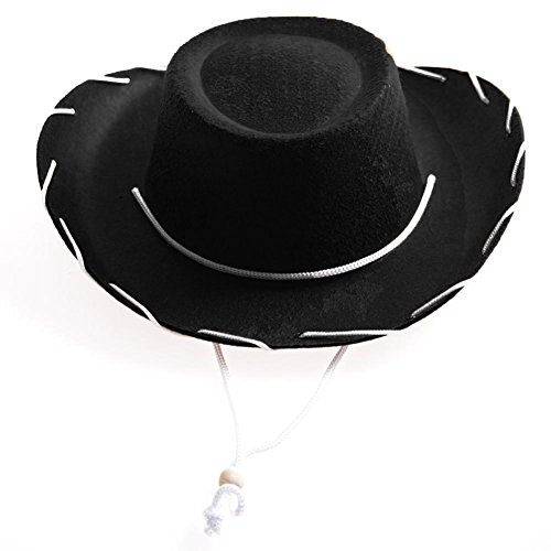 NJ Novelty Chilren's Black Cowboy Hat Western Style Costume Kids Ranch Felt Hat With White Draw String (Adult Jessie Hat)