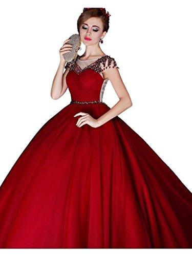 Kurzarm Beauty Perle Transparent Wein Zurück Abendkleid Rot Emily Lang Plissee Princess wTn1rYxTq