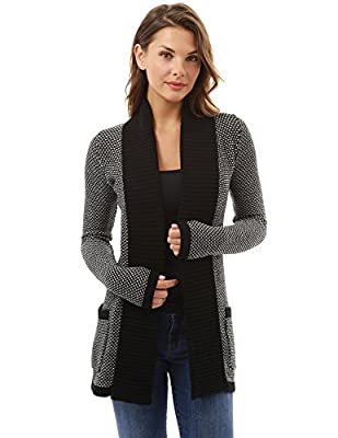 PattyBoutik Women's Open Front Marled Sweater Cardigan