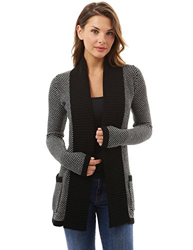 PattyBoutik-Womens-Open-Front-Marled-Sweater-Cardigan-Black-and-White-S